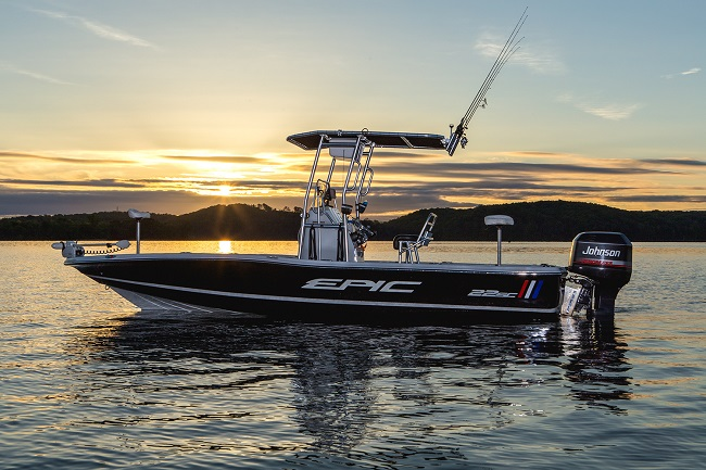 epic boat with fishmaster t-top on the water