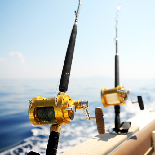 rod in saltwater boat