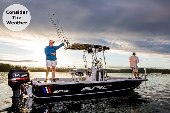fishing on epic boat with fishmaster t-top