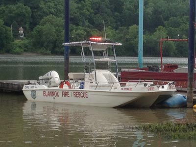 fire department boat with fishmaster t-top