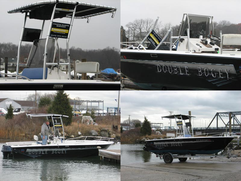 marine service and repair boat with fishmaster t-top