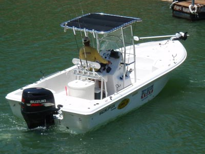 fishmaster t-top on guide service boat