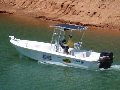 guide service boat with fishmaster t-top